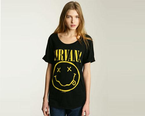 girl wearing nirvana shirt