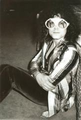 striped coat TREX marc bolan coat glasses