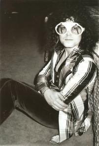 striped coat TREX marc bolan coat glasses