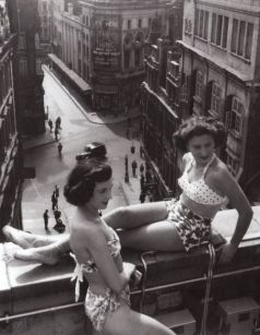 twin gal pal swimwear 1950s roof top