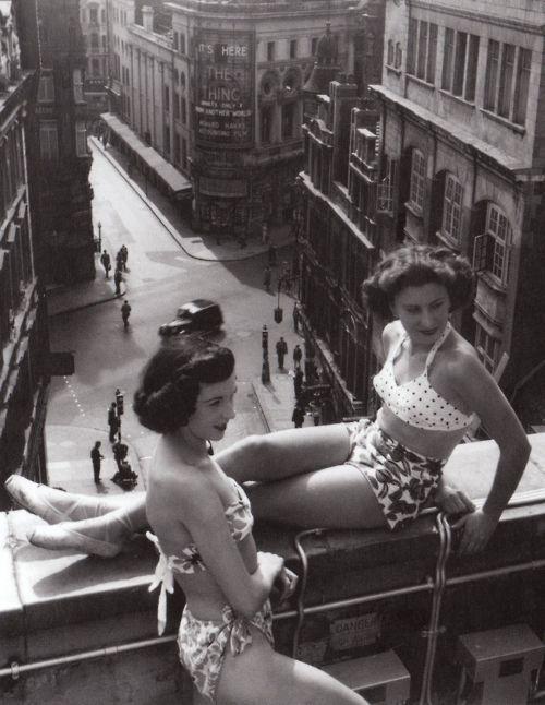 twin gal pal swimwear 1950s roof top