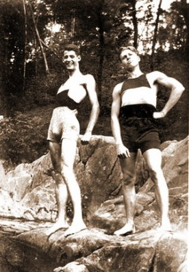 Two guys in 1920s Bathing Suits