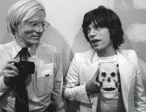 Andy warhol with mick jaggar and skull