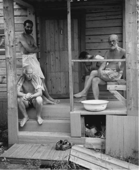 buddies Freud & Jung relaxing with freinds at a Turkish banya during a psychoanalysts' retreat , ca. 1907