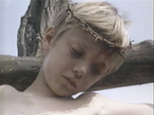 Religion little boy with thorn crown