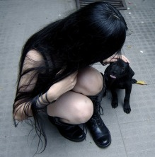 teen fashion witch with puppy