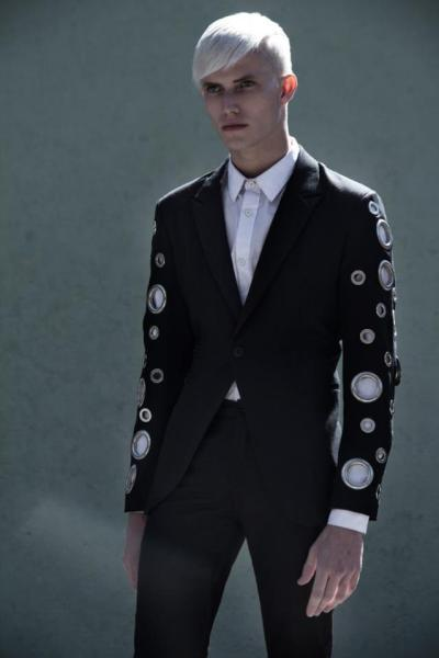 teen witch black blonde model tux suit detail