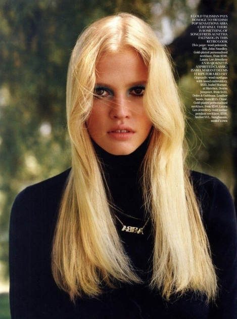 EOF SWEATER GIRLS- Vogue UK Lara Stone 1970S Turtleneck