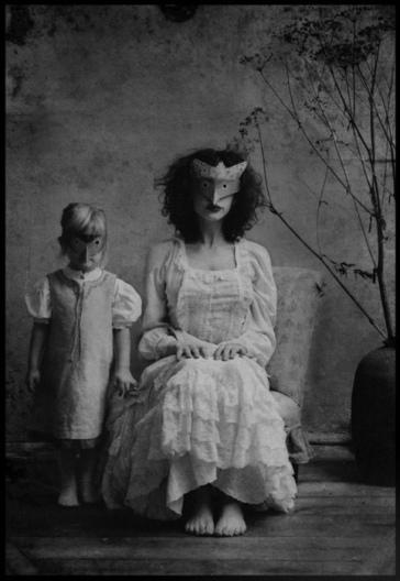 mask vintage woman and girl