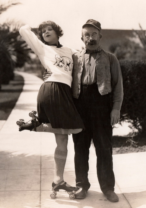 EOF - Clara Bow with Elephant Sweater and Rolling Skates