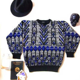 Deco Iron Work Graphic Sweater with Leather Patches