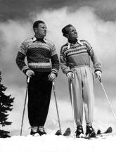 Men Wear Sweaters to Ski