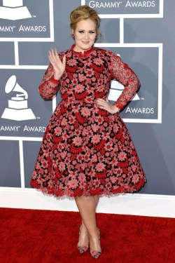Adele at Grammys-courtesy of Vogue - Vintage Style Inspiration - 1960s floral - mad men