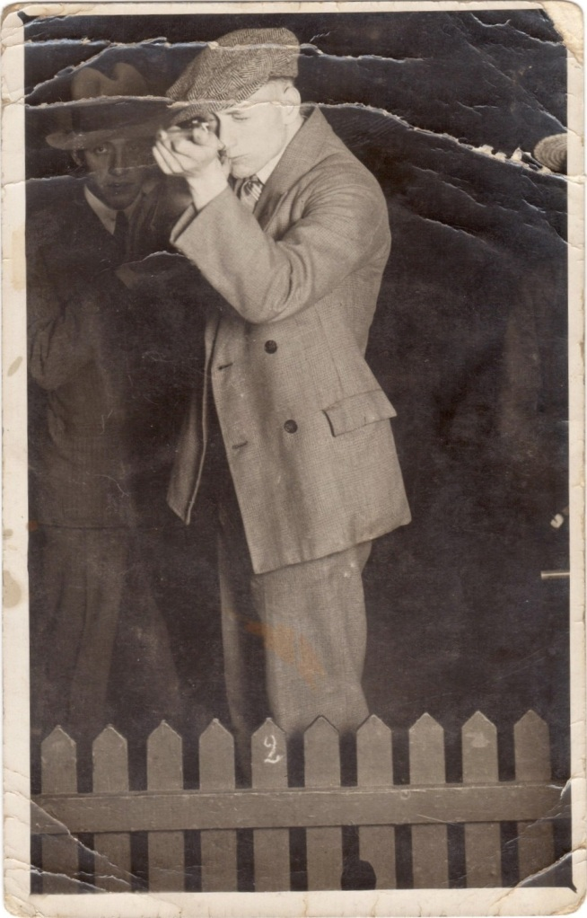 EOF- 1930s dapper rebel cool guy at the arcade- WICKED suit and hat combo