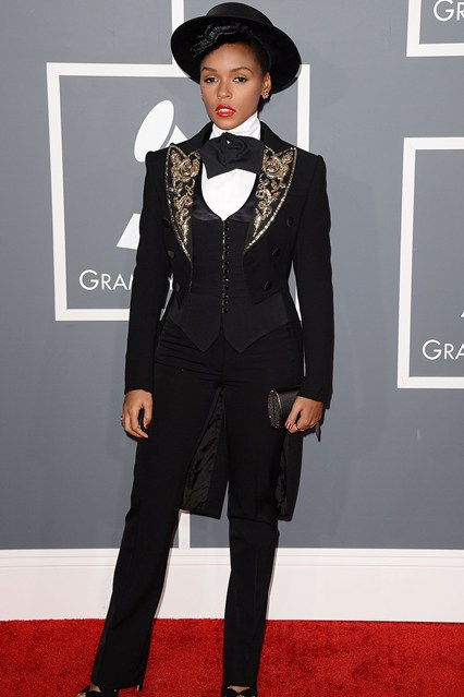 Janelle Monae at the Grammys 2013 - Courtesy of Vogue