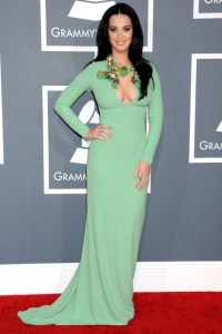 Katy Perry at the Grammys - courtesy of vogue - 2013 - gucci dress in mint green