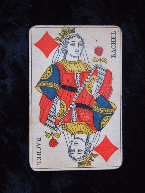 Tattered and Torn- Vintage Playing Card - Queen of Diamonds- Her Name is Rachel