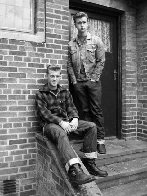Two 1950s Rockabilly teens - vintage mens fashion style inspiration- the devil may care