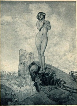 vIctorian skeleton and nude woman