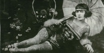 1920s Tattooed Sweatheart- Lounging with a Parasol- Vintage Style Inspiration- Historical Punk Fashion