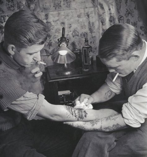 EOF Snapshot - Before Harry Styles - vintage tattoo photograph - getting it done- bad ass- rebel style- classic mens fashion inspiration