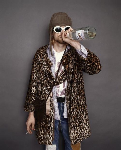 kurt cobain in leopard coat- ecclectic king - rock n roll- vintage style inspiraton