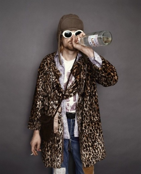 kurt cobain in leopard coat- ecclectic king - rock n roll- vintage style inspiraton