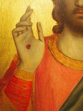 Detail of the Peruzzi Altarpiece - christ wounds- revealing the early renaissance: stories and secrets in florentine art at the AGO