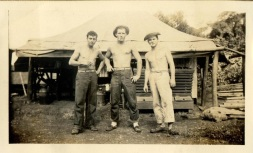 three buddies taking a break - vintage denim workwear mens fashion inspiration- 1940s