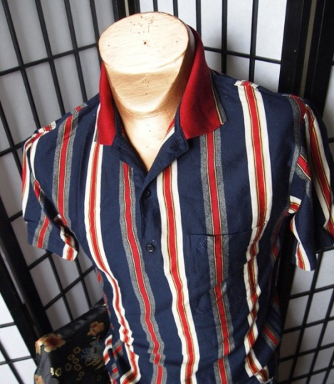 Ivy Stripe Rare YSL Vintage Cotton Polo Shirt