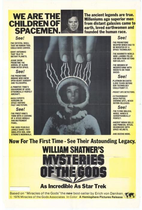 Mysteries of the Gods- William Shatner- 1977 Vintage Movie Poster