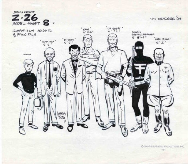 original hannah barbara - johnny quest and villains sheet- vintage summer style inspiration - adventure cool