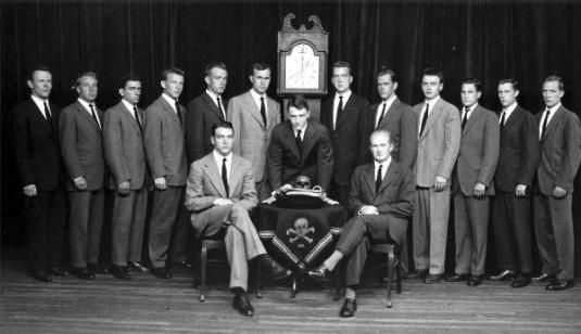 president-bush-yale-skull-and-bones-group shot- vintage-mystery-cool