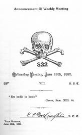 secret society style - skull and bones- weekly meeting invite