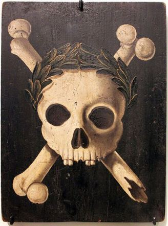 skull and bones - thou shalt not enter - antique 19th century plaque