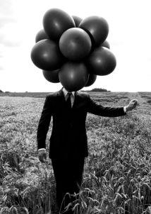 The Balloon man black and white kris schmitz