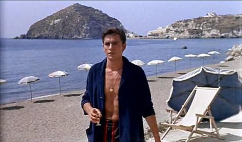 ALAIN DELON- vintage style idol - on the beach as Tom Ripley in Purple Noon (1960)