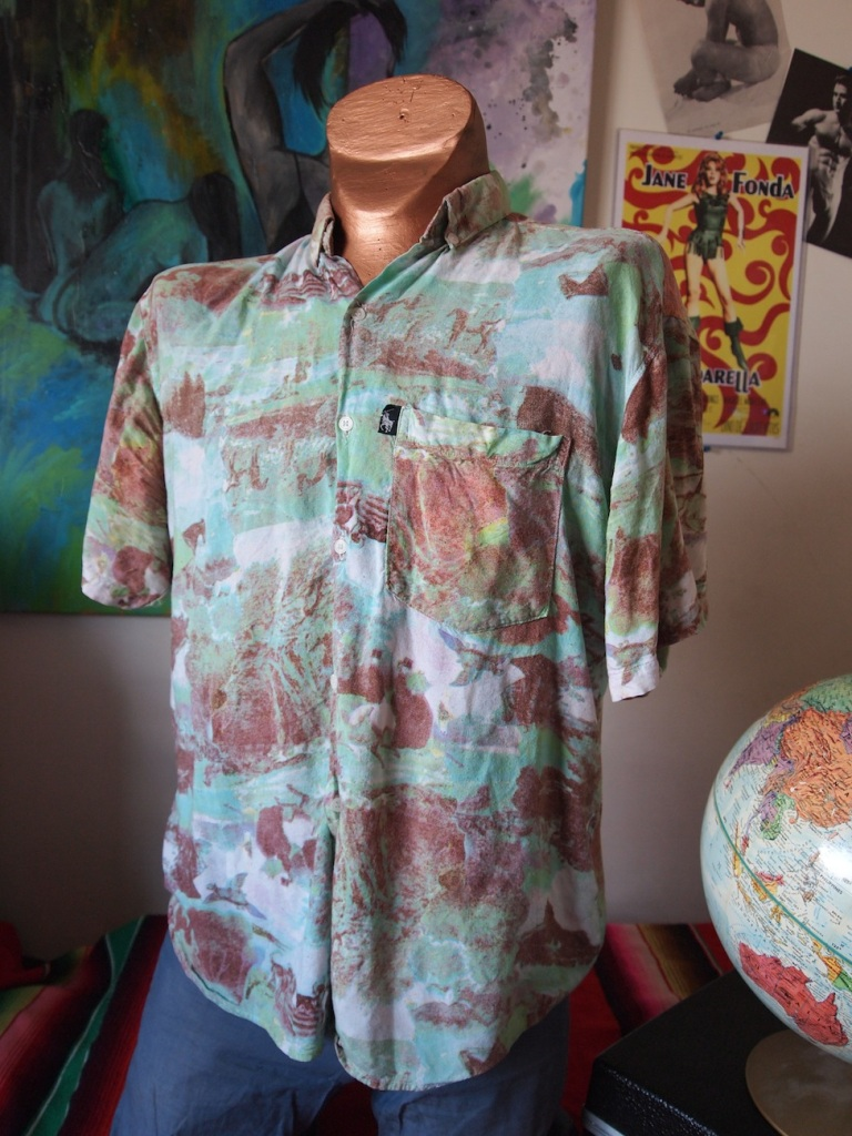 Dreamweaver - 1970s Ralph Lauren Pscyhedellic Equestrian Wave Warrior All-Over Graphic Surf Shirt - The Eye of Faith Vintage Menswear