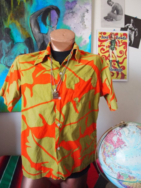Knights of the Sandcastle- Sears Hawaii 1960s Graphic Floral Surf Shirt