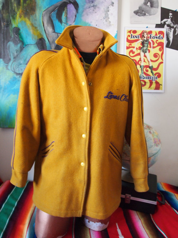 knights of the sandcastle - the lions club golden yellow 1950s secret society jacket - the eye of faith vintage