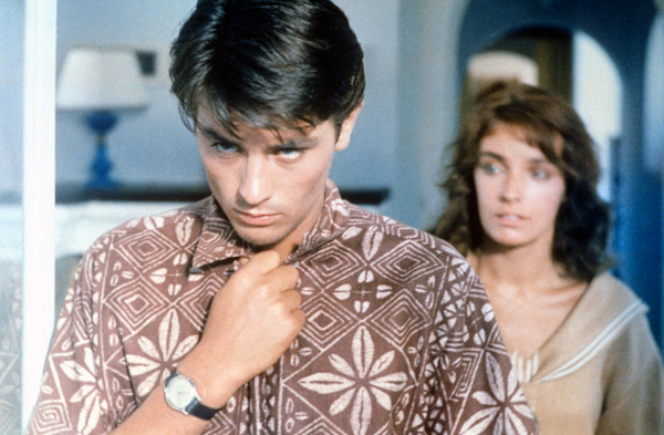 LA PLEINE SOLEIL - Purple Noon- Alain Delon in Tropical Graphic Print Shirt - 1960