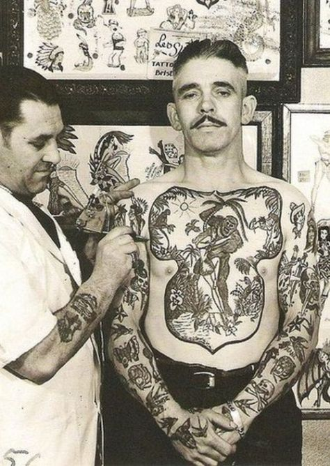 vintage tattoo man