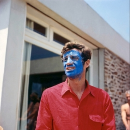 Jean Paul Belmondo in Blue Face- French New Wave- Pierrot Le Fou- Godard- Vintage