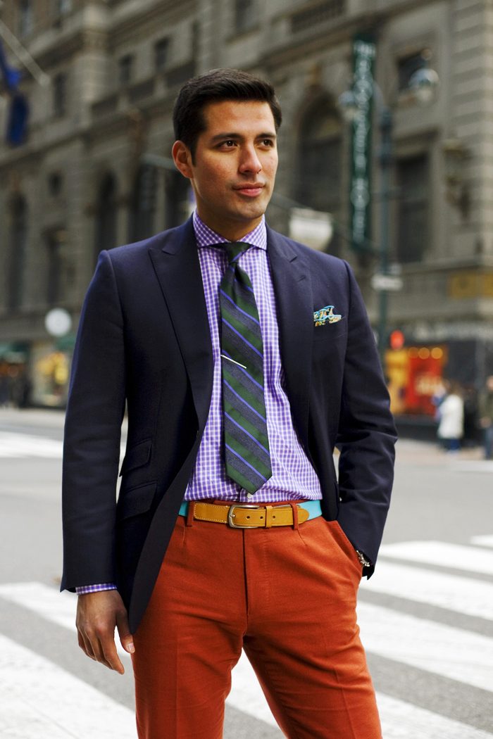mens business fashion-the sartorialist-bright shirt and cool tie
