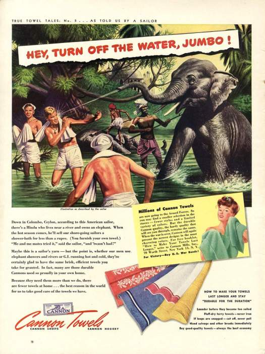 Vintage 1940s Common Towels Ads - Paradise Lost - Military Men in the Jungle