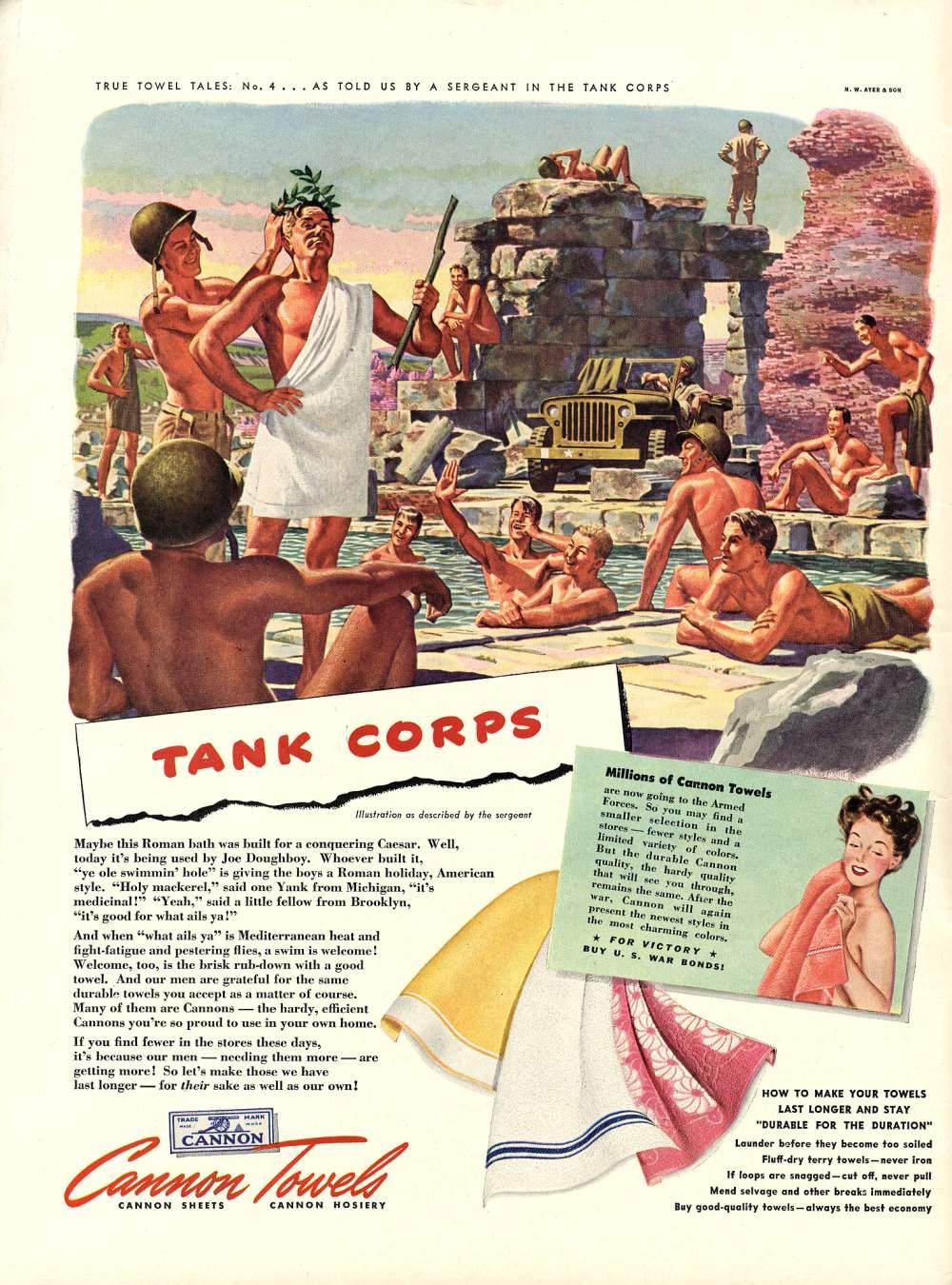 Vintage 1940s Common Towels Ads - Paradise Lost - Military Men