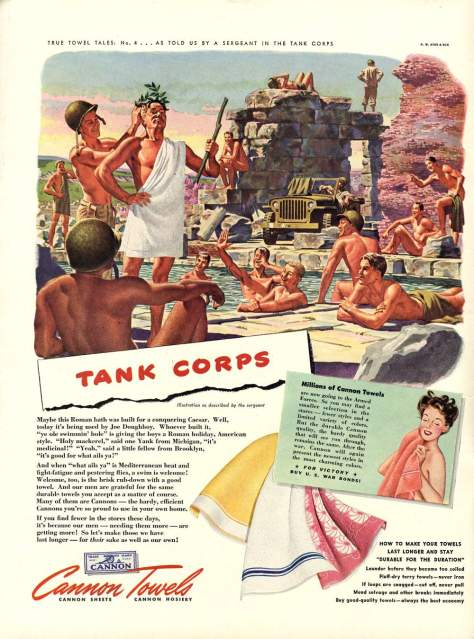 Vintage 1940s Common Towels Ads - Paradise Lost - Military Men