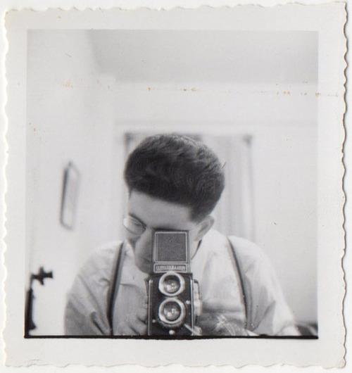 Vintage Guy Taking Photograph of Himself - Self Portrait [1940s]