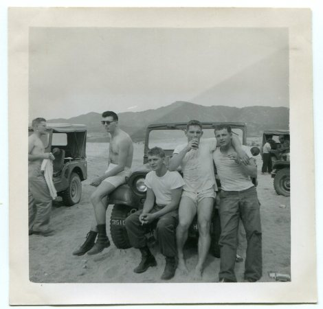 Vintage Military Men- WWII War Buddies - Snapshot Vernacular-Summer Pals