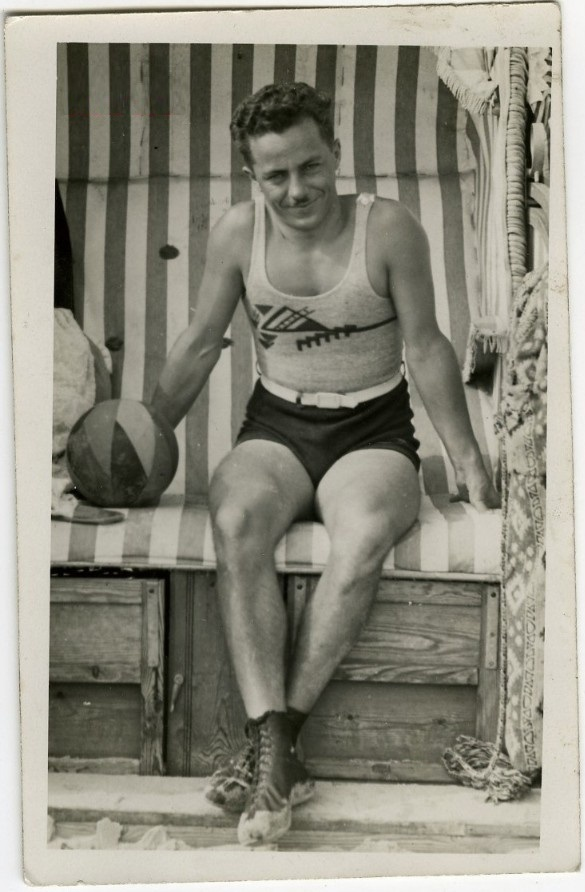 EOF Vintage Menswear- Summer Style - 1930s Graphic Tank - Cool Swimsuit Dude- Moustache